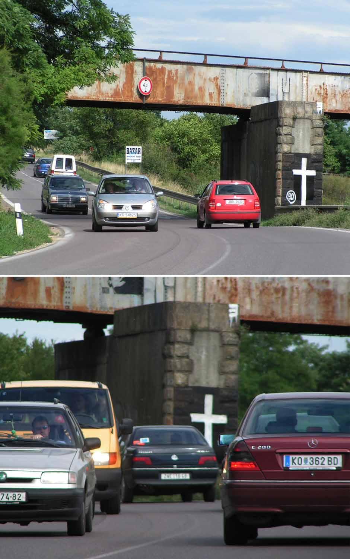 silnice kříž